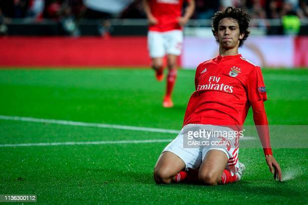 Benfica's Portuguese midfielder Joao Felix celebrates after scoring a goal during the UEFA Europa league quarter final first leg football match...