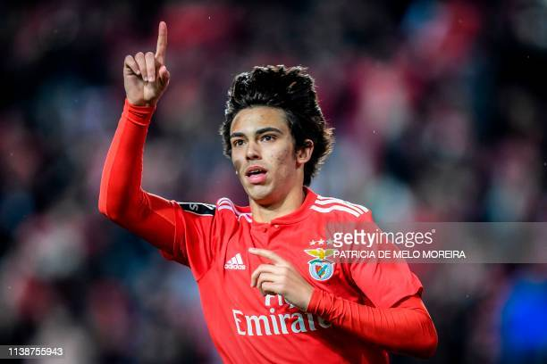 Benfica's Portuguese midfielder Joao Felix celebrates after scoring a goal during the Portuguese League football match between SL Benfica and CS...