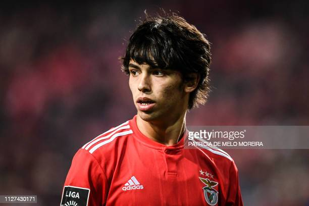 Benfica's Portuguese midfielder Joao Felix reacts during the Portuguese League football match between SL Benfica and Chaves at the Luz stadium on...