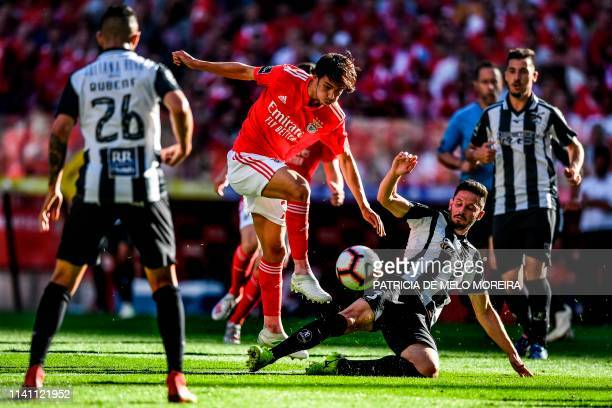 Benfica's Portuguese midfielder Joao Felix vies with Portimonense's Brazilian defender Lucas Possignolo during the Portuguese league football match...