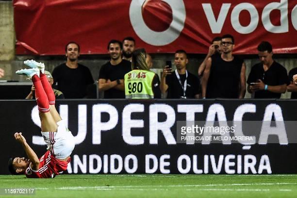 Benfica's Portuguese midfielder Pizzi Fernandes celebrates a goal during the Portugal's Candido de Oliveira Super Cup final football match between SL...