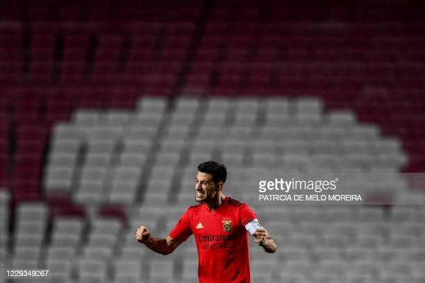 Benfica's Portuguese midfielder Pizzi Fernandes celebrates after scoring a goal during the UEFA Europa League group D football match between Benfica...