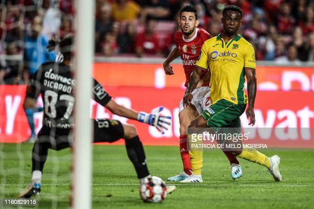 Benfica's Portuguese midfielder Pizzi Fernandes scores a goal during the Portuguese league football match between SL Benfica and FC Pacos de Ferreira...