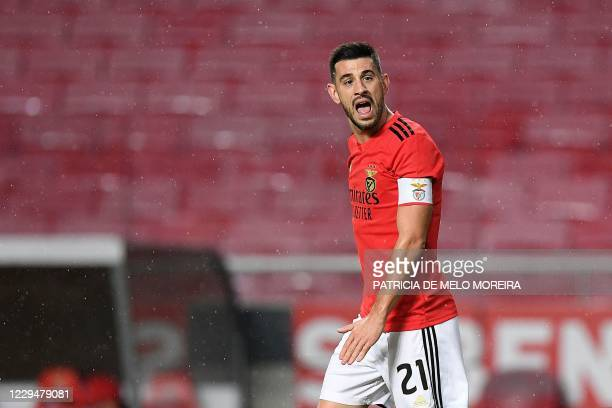 Benfica's Portuguese midfielder Pizzi reacts during the UEFA Europa League group D football match between SL Benfica and Glasgow Rangers at the Luz...