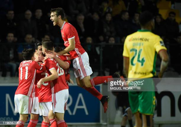 Benfica's Portuguese midfielder Rafa celebrates with teammates after scoring a goal during the Portuguese league football match FC Pacos de Ferreira...