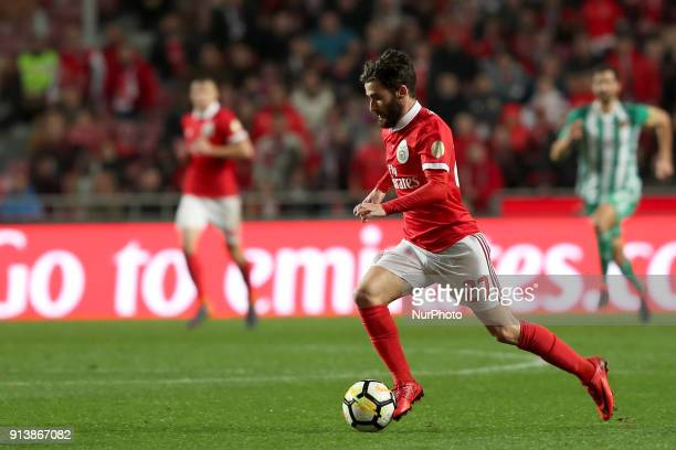 Benfica's Portuguese midfielder Rafa Silva in action during the Portuguese League football match SL Benfica vs Rio Ave FC at the Luz stadium in...