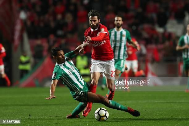 Benfica's Portuguese midfielder Rafa Silva vies with Rio Ave's midfielder Leandrinho during the Portuguese League football match SL Benfica vs Rio...