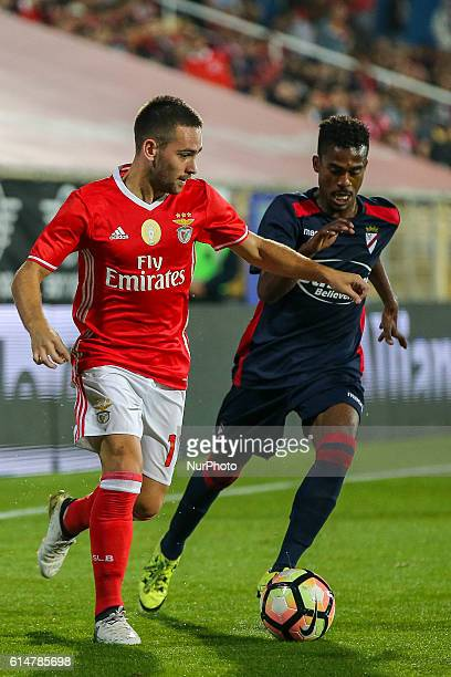 Benfica's Serbian forward Andrija Zivkovic and SU 1 Dezembros forward Rui Santos during SU 1 Dezembro v Benfica Portuguese Cup at Estadio Antonio...
