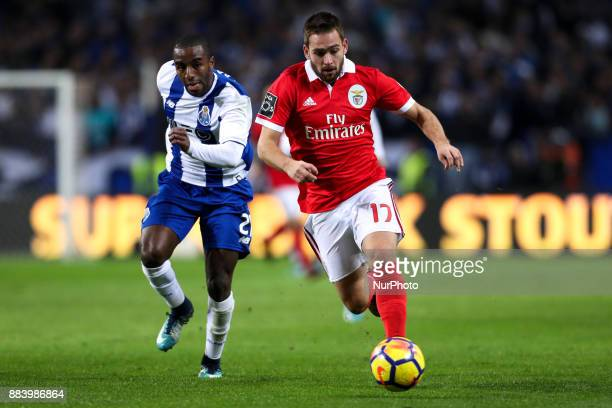 Benfica's Serbian forward Andrija Zivkovic in action with Porto's Portuguese defender Ricardo Pereira during the Premier League 2016/17 match between...