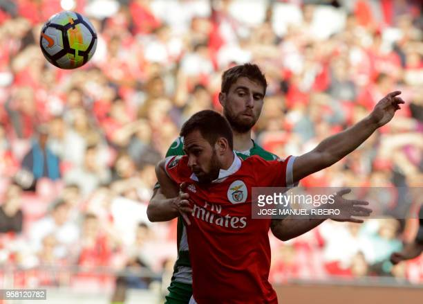 Benfica's Serbian forward Andrija Zivkovic vies with Moreirense's Portuguese defender Ruben Lima during the Portuguese league football match between...