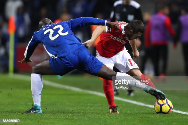 Benfica's Serbian forward Andrija Zivkovic vies with Porto's Portuguese midfielder Danilo Pereira during the Premier League 2016/17 match between FC...
