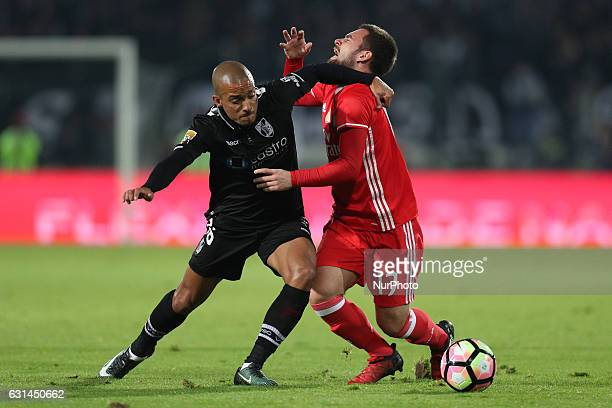 Benfica's Serbian forward Andrija Zivkovic vies with Vitoria SC's Portuguese defender Bruno Gaspar during the League Cup 2016/17 match between...