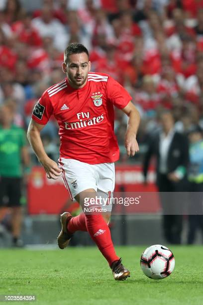Benfica's Serbian midfielder Andrija Zivkovic in action during the Portuguese League football match SL Benfica vs Sporting CP at the Luz stadium in...
