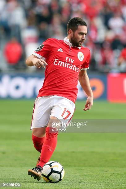 Benfica's Serbian midfielder Andrija Zivkovic in action during the Portuguese League football match SL Benfica vs Vitoria Guimaraes at the Luz...