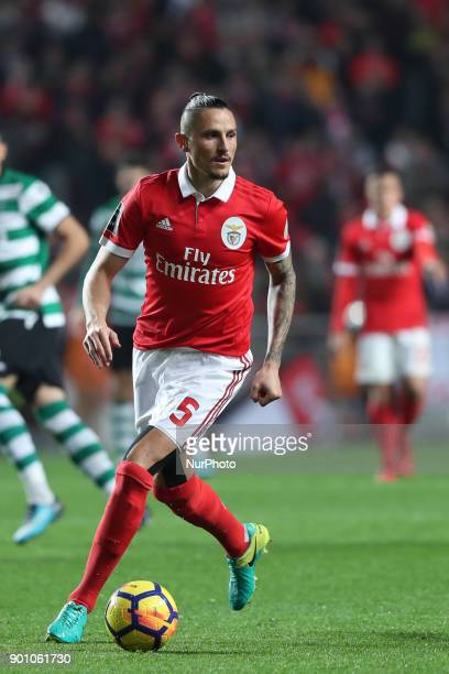 Benfica's Serbian midfielder Ljubomir Fejsa in action during the Portuguese League football match SL Benfica vs Sporting CP at the Luz stadium in...