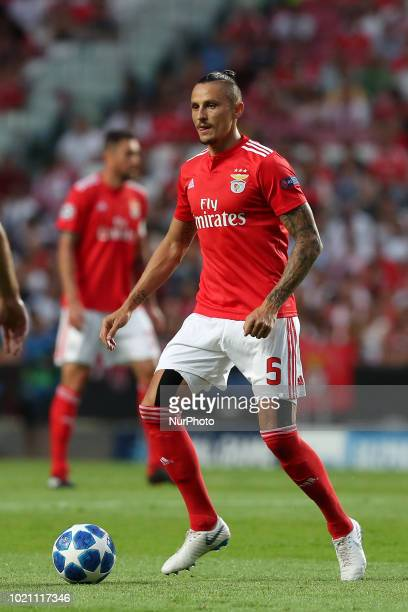 Benfica's Serbian midfielder Ljubomir Fejsa in action during the UEFA Champions League playoff first leg match SL Benfica vs PAOK FC at the Luz...