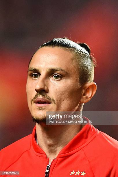 Benfica's Serbian midfielder Ljubomir Fejsa poses before the UEFA Champions League Group B football match SL Benfica vs SSC Napoli at the Luz stadium...