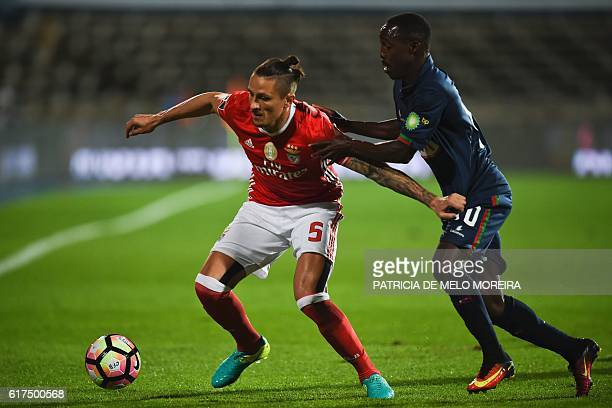 Benfica's Serbian midfielder Ljubomir Fejsa vies with Belenenses' Bissau Guinean forward Gerso Fernandes during the Portuguese league football match...