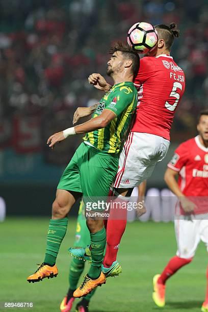 Benfica's Serbian midfielder Ljubomir Fejsa vies with Tondela's Portuguese midfielder Claude Goncalves during the Premier League 2016/17 match...