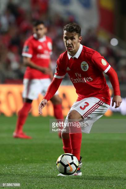 Benfica's Spanish defender Alejandro Grimaldo in action during the Portuguese League football match SL Benfica vs Rio Ave FC at the Luz stadium in...