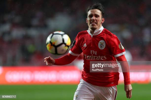 Benfica's Spanish defender Alejandro Grimaldo in action during the Portuguese League football match SL Benfica vs Maritimo at the Luz stadium in...