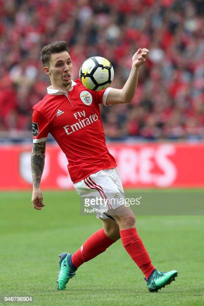 Benfica's Spanish defender Alejandro Grimaldo in action during the Portuguese League football match SL Benfica vs FC Porto at the Luz stadium in...