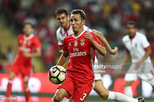 Benfica's Spanish defender Alex Grimaldo in action during the Candido de Oliveira Super Cup match between SL Benfica and SC Braga in Municipal de...