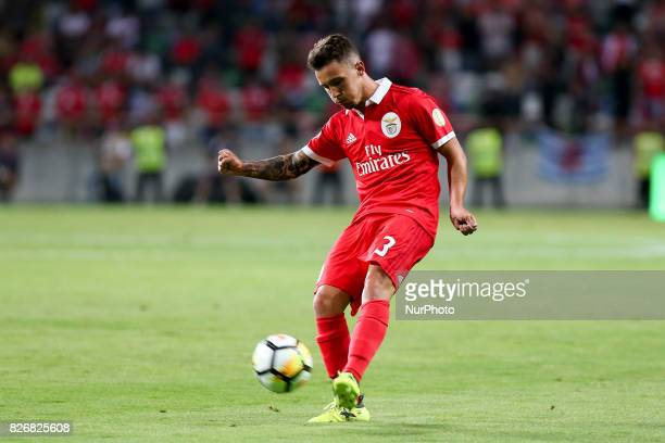 Benfica's Spanish defender Alex Grimaldo in action during the Candido Oliveira Super Cup match between SL Benfica and Vitoria Guimaraes at Municipal...