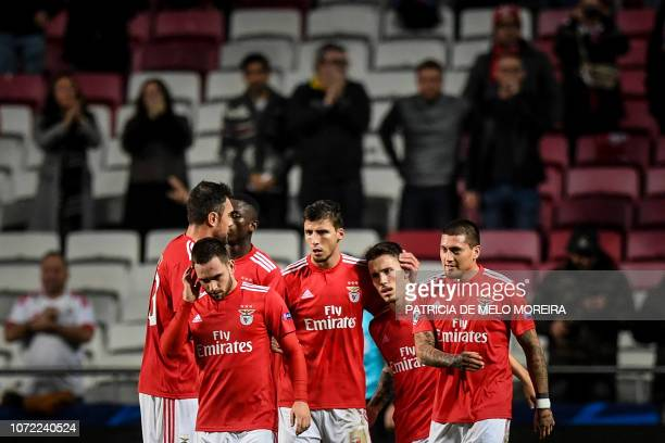 Benfica's Spanish defender Grimaldo Garcia celebrates with scoring a goal during the UEFA Champions League group E football match between SL Benfica...