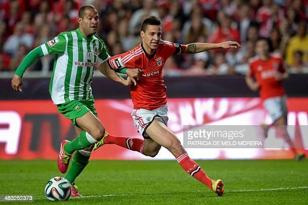 Benfica's Spanish forward Rodrigo Moreno Machado vies with Rio Ave's Peruvian defender Alberto Rodriguez during the Portuguese league football match...
