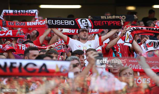 Benfica's supporters before the start of the Eusebio Cup match between SL Benfica and Torino at Estadio da Luz on July 27 2016 in Lisbon Portugal