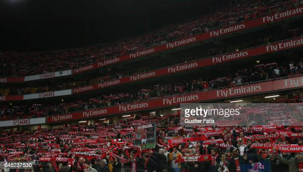 Benfica's supporters before the start of the Primeira Liga match between SL Benfica and GD Chaves at Estadio da Luz on February 24 2017 in Lisbon...