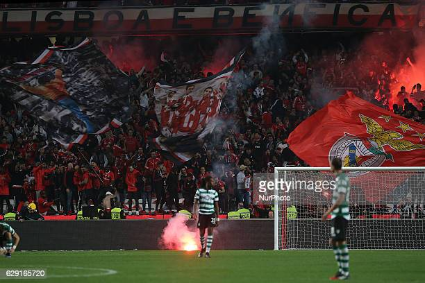 Benficas supporters celebrating a goal during Premier League 2016/17 match between SL Benfica and Sporting CP at Estadio da Luz in Lisbon on December...
