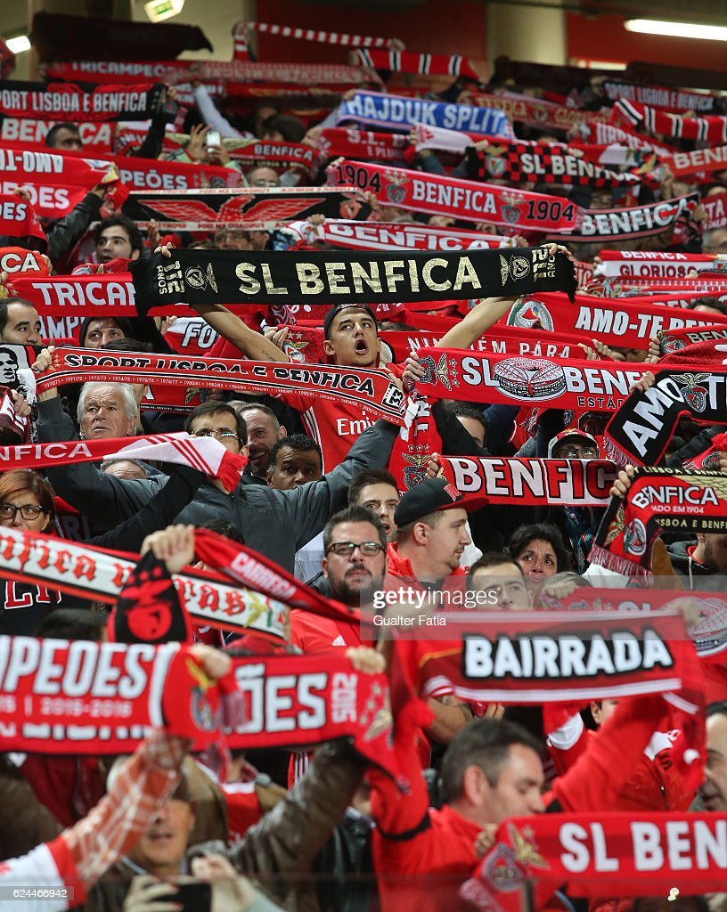 SL Benfica's supporters in action before the start of the Portuguese Cup match between SL Benfica and CS Maritimo at Estadio da Luz on November 19, 2016 in Lisbon, Portugal.