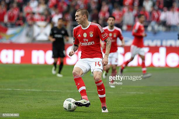 Benfica's Swedish defender Victor Lindelöf in action during the Premier League match between Academica and SL Benfica at Municipal Coimbra Stadium in...