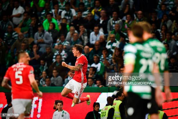Benfica's Swedish defender Victor Lindelof celebrates a goal during the Portuguese league football match Sporting CP vs SL Benfica at the Jose...