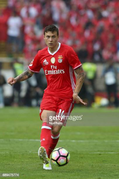 Benfica's Swedish defender Victor Lindelof in action during the Portugal Cup Final football match SL Benfica vs Vitoria Guimaraes SC at Jamor stadium...