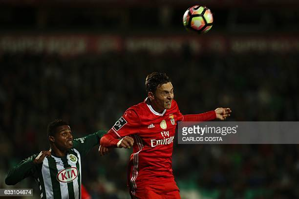 Benfica's Swedish defender Victor Lindelof vies with Vitoria Setubal's Bissau Guinean defender Vasco Fernandes during the Portuguese league football...