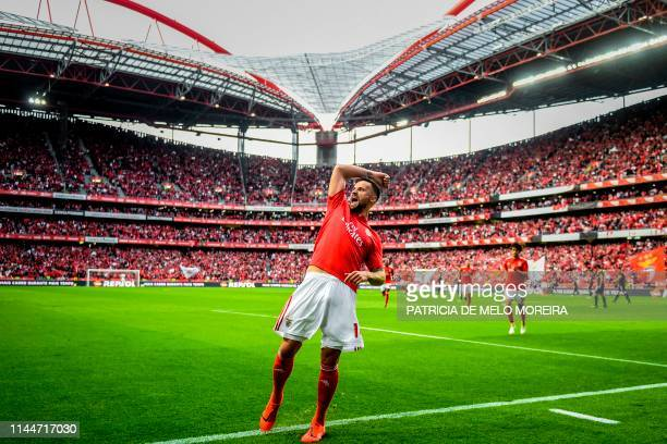 Benfica's Swiss forward Haris Seferovic celebrates after scoring during the Portuguese League football match between Benfica and Santa Clara at the...