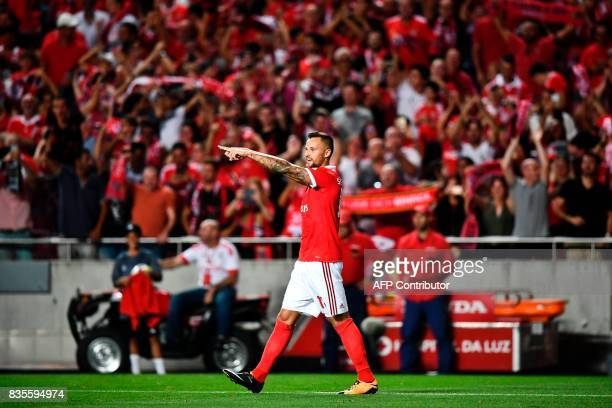 Benfica's Swiss forward Haris Seferovic celebrates after scoring during the Portuguese League football match SL Benfica vs Os Belenenses at Luz...