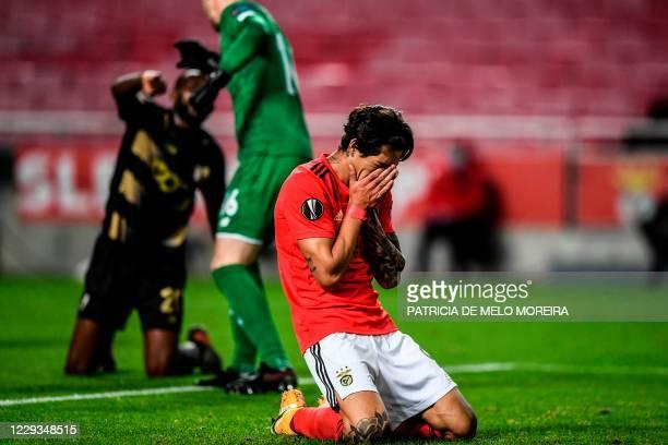 Benfica's Uruguayan forward Darwin Nunez reacts after missing a goal opportunity during the UEFA Europa League group D football match between Benfica...