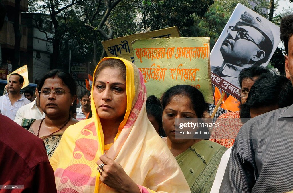 Bengal BJP leader Rupa Ganguly with students during a