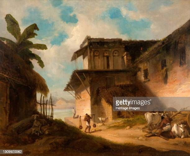 Bengal Village Scene, 1821. Artist George Chinnery. .