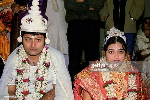 Bengali bride and groom on the day of marriage Kolkata West Bengal India