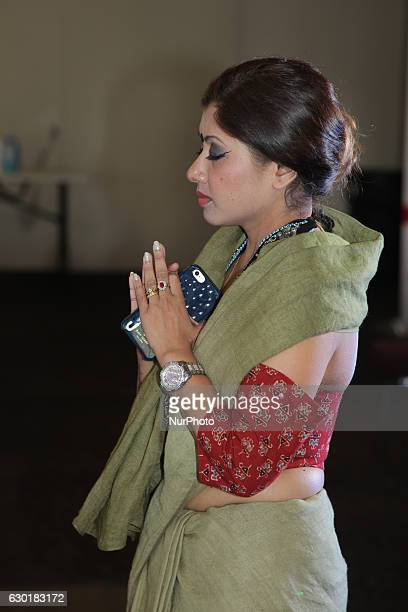 Bengali Hindu woman prays during the Durga Puja festival at a pandal in Mississauga Ontario Canada on October 15 2016 Hundreds of Bengalis attended...