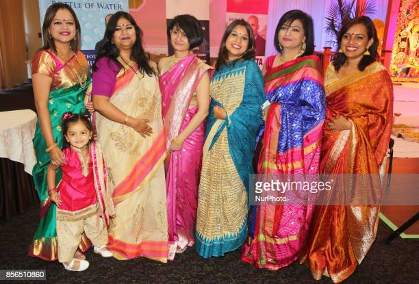 Bengali Hindu women celebrate during the Durga Puja festival at a pandal in Mississauga Ontario Canada Hundreds of Bengalis attended the celebration...