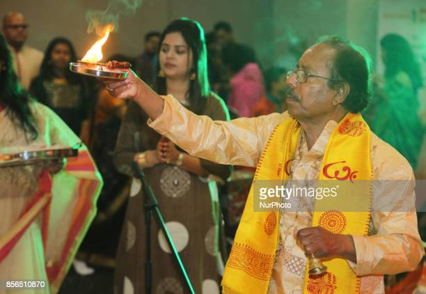 Bengali Hindus offer prayers during the Durga Puja festival at a pandal in Mississauga Ontario Canada Hundreds of Bengalis attended the celebration...