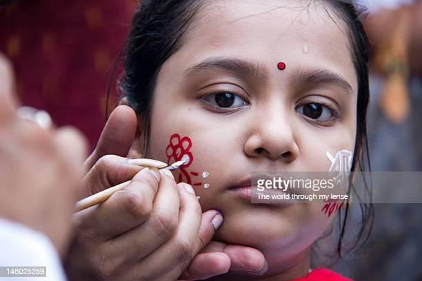 bengali new year - bengali girl stock photos and pictures