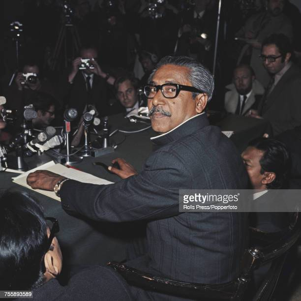 Bengali politician and first President of Bangladesh Sheikh Mujibur Rahman pictured at a press conference in London on 10th January 1972 Sheikh...