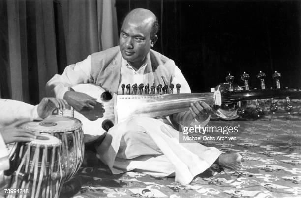 Bengali sarod master Ali Akbar Khan performs in concert circa 1970